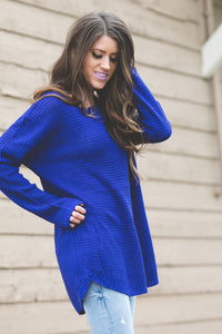 Ashley Waffle Knit Sweater | Denim Blue