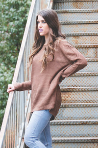 Ashley Waffle Knit Sweater | Mocha