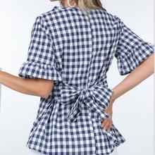 Gingham Tie Back Blouse