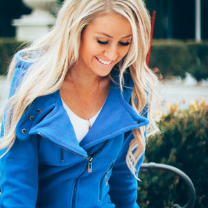 Spring Fleece Moto Jacket | Royal