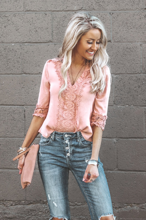 Belle in Lace Blouse | Blush