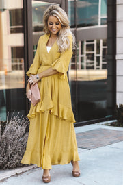 Elise Ruffle Dress | Mustard