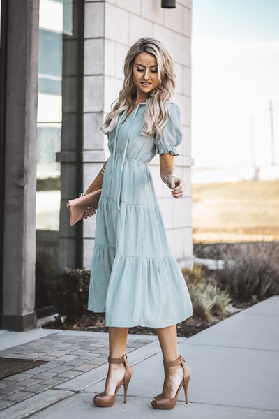 Eve Puff Sleeve Dress | Sage