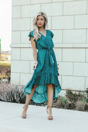 Monaco Ruffle Dress | Teal