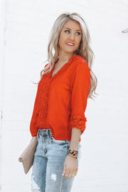 Belle in Lace Blouse | Red