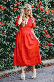 Brighton Eyelet Dress | Red