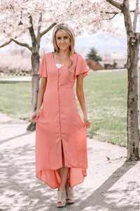 Sunday Stroll Button Dress | Dusty Rose