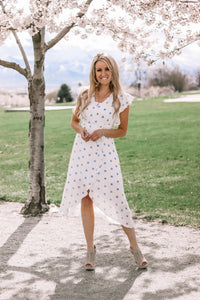 On the Dot Wrap Dress | Blue
