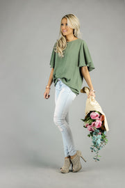 Layla Flutter Sleeve Blouse | 22 Colors