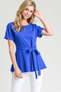 Peplum Tie Blouse | Royal