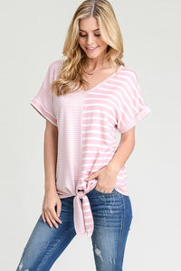 Perfect Striped Tie Tee | Rose