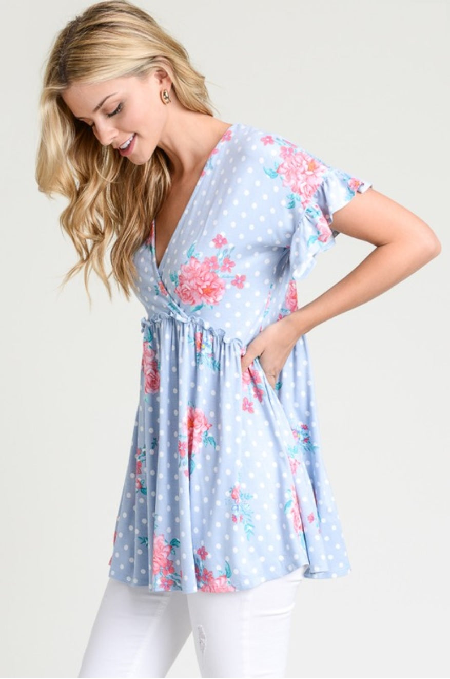 23786e143a2d1 Pretty in Petals Blouse | Light Blue | Bump Friendly – Eyelet Skye