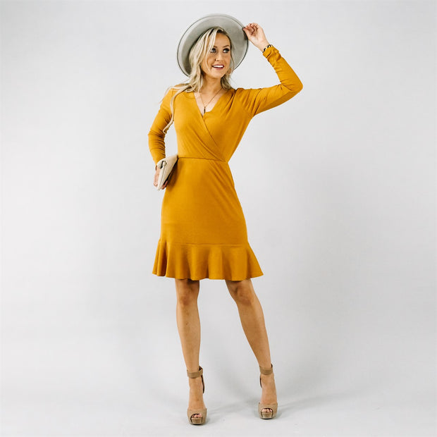 Rib Knit Ruffle Dress | 4 Colors