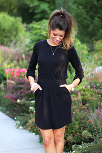 Cinched Waist Tunic Dress | Black