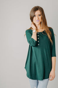 Lightweight Henley Tunic | Forest Green
