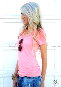 BF V-Neck Tee | Pink