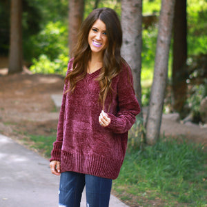 Cozy Oversized Sweater | Burgundy