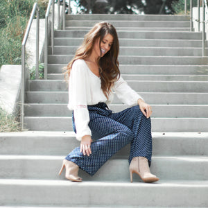 Dot Wide Leg Work Pant | Navy