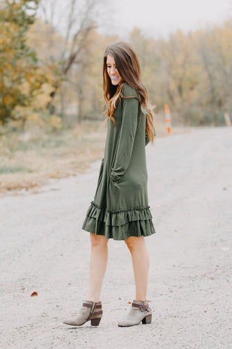 Double Ruffle Long Sleeve Dress | Forest