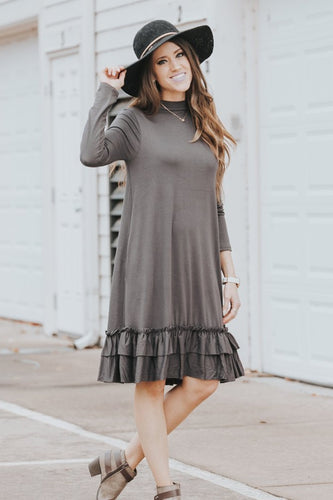 Double Ruffle Long Sleeve Dress | Ash Gray
