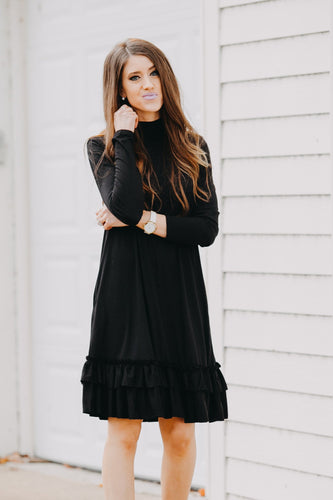 Double Ruffle Long Sleeve Dress | Black