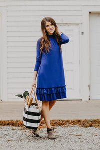 Double Ruffle Long Sleeve Dress | Royal