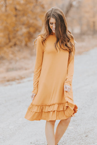 Double Ruffle Long Sleeve Dress | Desert Mustard
