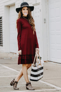 Double Ruffle Long Sleeve Dress | Dark Burgundy