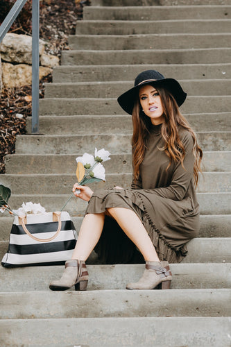 Double Ruffle Long Sleeve Dress | Dark Olive