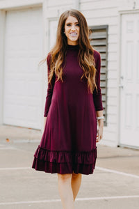 Double Ruffle Long Sleeve Dress | Dark Plum