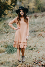 Double Ruffle Long Sleeve Dress | Taupe