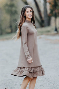 Double Ruffle Long Sleeve Dress | Mocha