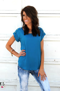 Ella Button Cuff Blouse | 6 Colors!