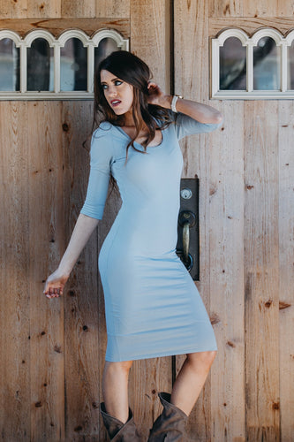 Flattering Layer Dress | Ash Blue