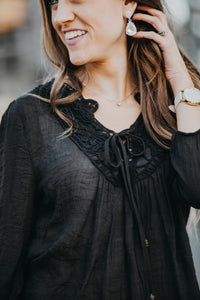 Lace Peasant Blouse | Black