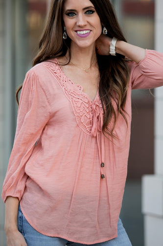 Lace Peasant Blouse | Dusty Pink