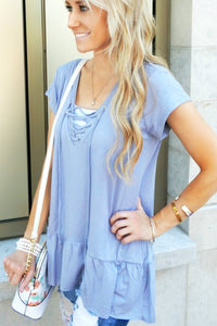 Lace Up Flowy Peplum | 3 Colors