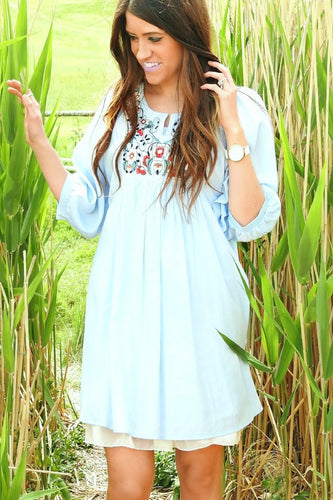 Peasant Sleeve Embroidered Tunic | Blue