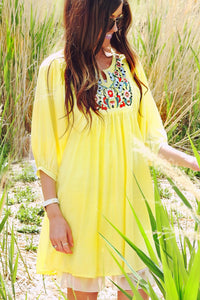 Peasant Sleeve Embroidered Tunic | Yellow