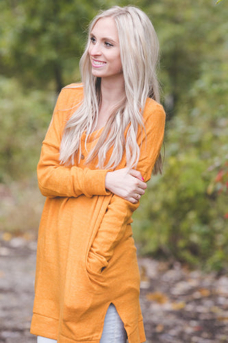 Perfect Pocket Sweater | Ash Mustard