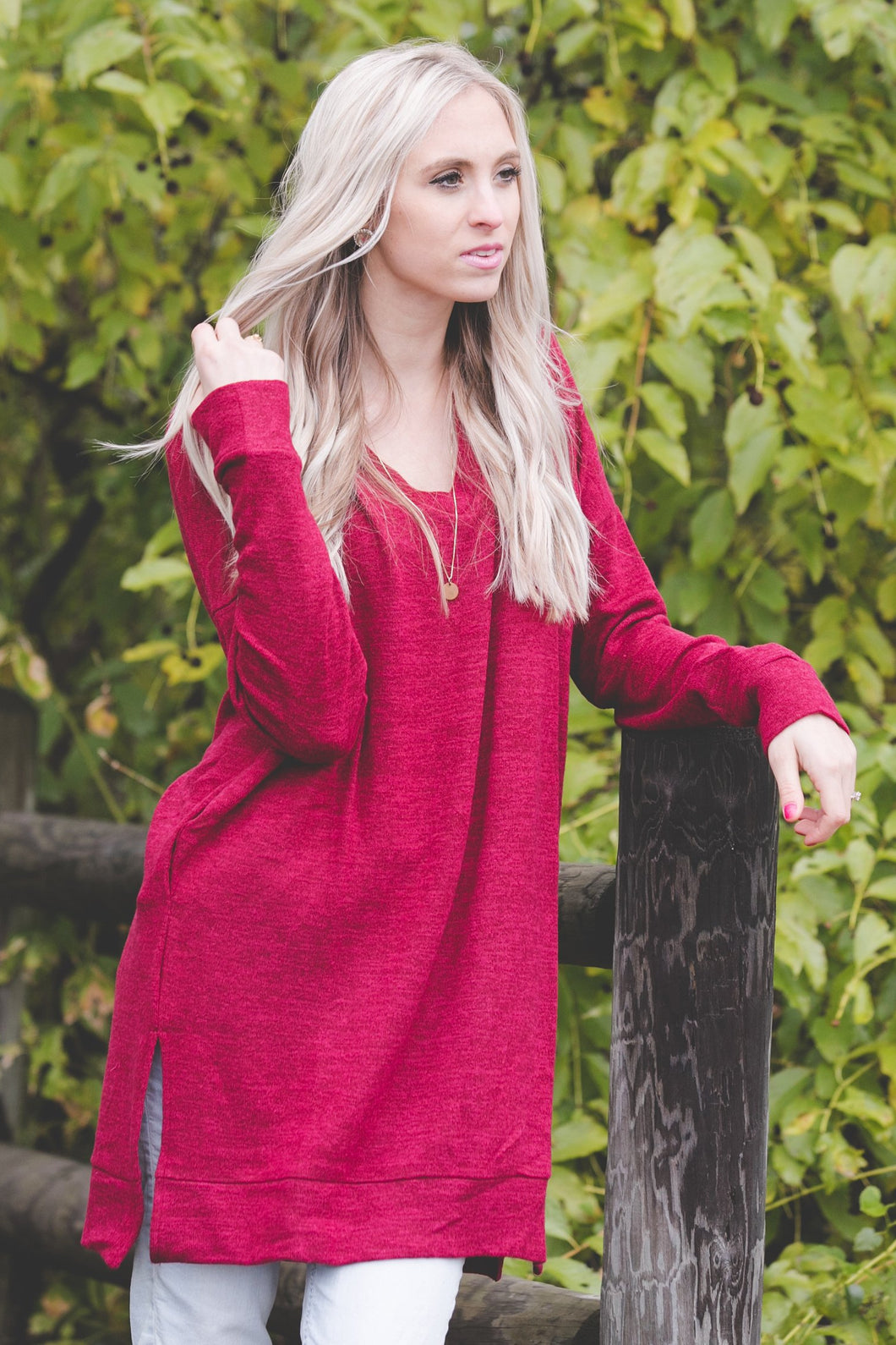 Perfect Pocket Sweater | Burgundy
