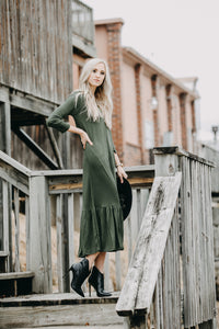 Ruffle Midi Dress | Green