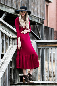 Ruffle Midi Dress | Burgundy