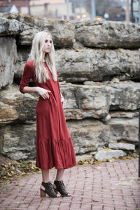 Ruffle Midi Dress | Fired Brick