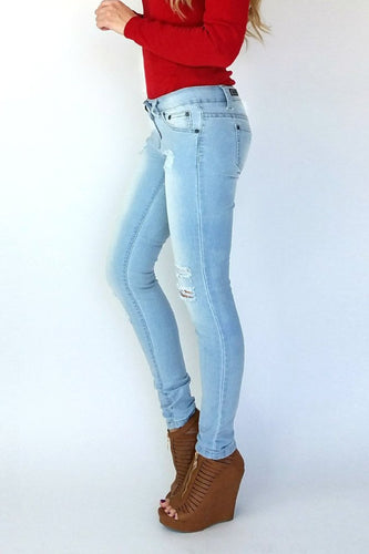 Stretchy Distressed Denim | Light Wash