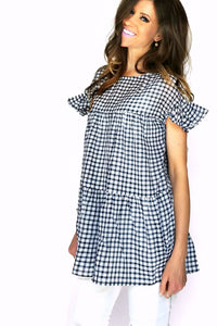 Sweet in Gingham Top | Navy
