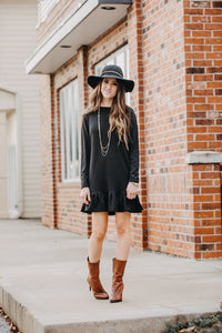 Cozy Ruffle Dress | Black