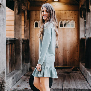 Cozy Ruffle Dress | Mint
