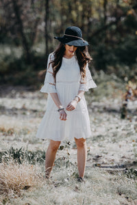 Tiered Eyelet Dress | White