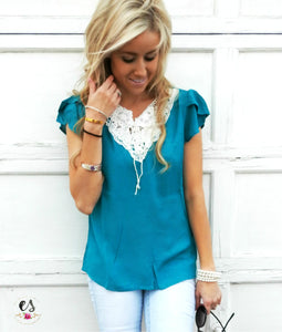 Tulip Sleeve Crochet Blouse | 4 Colors